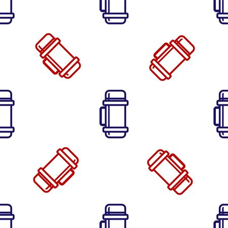 Blue and red container icon isolated seamless pattern on white background. Thermo flask icon. Camping and hiking equipment. Vector Illustration