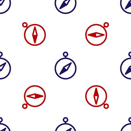 Blue and red Compass icon isolated seamless pattern on white background. Windrose navigation symbol. Wind rose sign. Vector Illustration Ilustracja