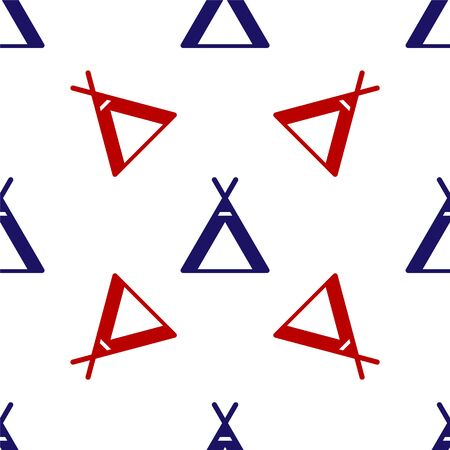 Blue and red Tourist tent icon isolated seamless pattern on white background. Camping symbol. Vector Illustration