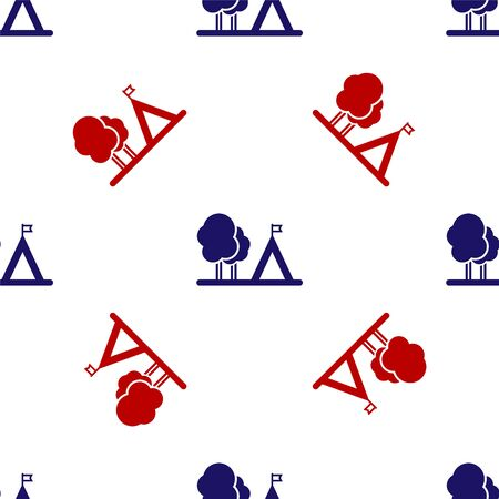 Blue and red Tourist tent with flag icon isolated seamless pattern on white background. Camping symbol. Vector Illustration Ilustracja
