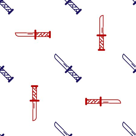 Blue and red Military knife icon isolated seamless pattern on white background. Vector Illustration  イラスト・ベクター素材