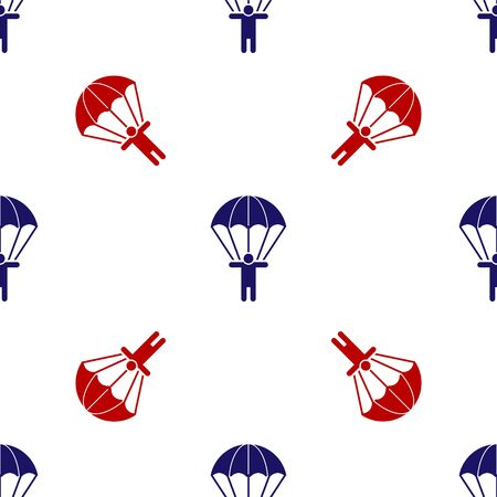 Blue and red Parachute and silhouette person icon isolated seamless pattern on white background. Vector Illustration