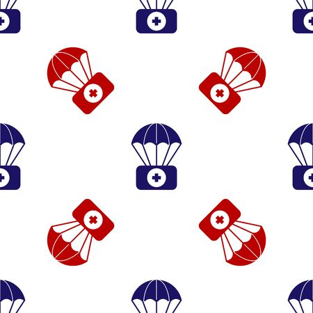 Blue and red Parachute with first aid kit icon isolated seamless pattern on white background. Medical insurance. Vector Illustration