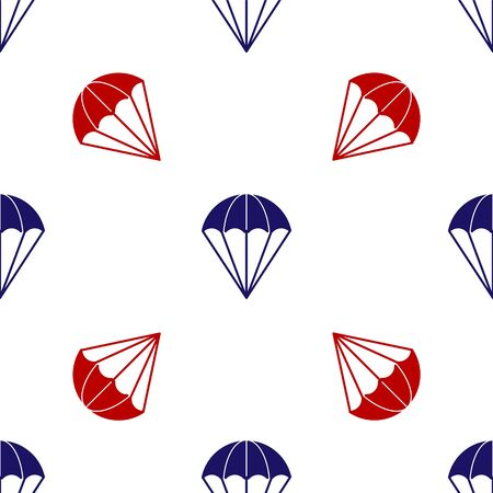 Blue and red Parachute icon isolated seamless pattern on white background. Vector Illustration Illustration