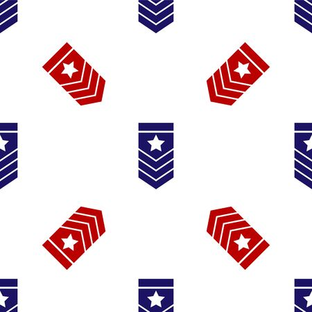 Blue and red Chevron icon isolated seamless pattern on white background. Military badge sign. Vector Illustration