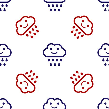 Blue and red Cloud with rain icon isolated seamless pattern on white background. Rain cloud precipitation with rain drops. Vector Illustration