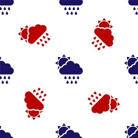 Blue and red Cloud with rain and sun icon isolated seamless pattern on white background. Rain cloud precipitation with rain drops. Vector Illustration Ilustracja
