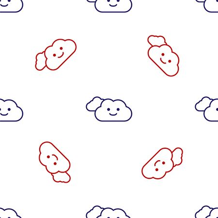 Blue and red Cloud icon isolated seamless pattern on white background. Vector Illustration Ilustracja