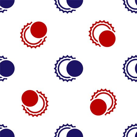Blue and red Eclipse of the sun icon isolated seamless pattern on white background. Total sonar eclipse. Vector Illustration