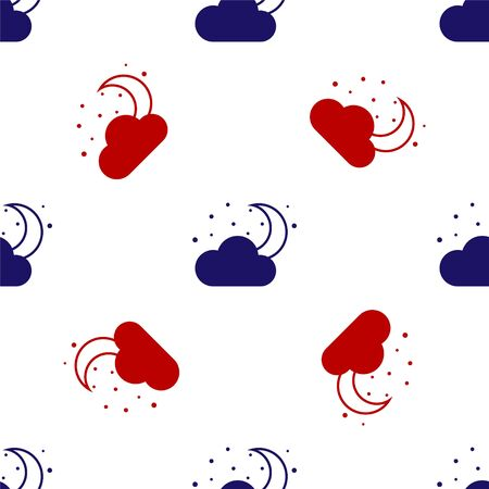 Blue and red Cloud with moon and stars icon isolated seamless pattern on white background. Cloudy night sign. Sleep dreams symbol. Night or bed time sign. Vector Illustration