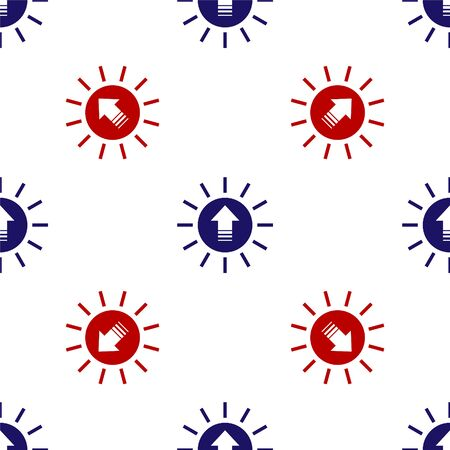 Blue and red Sunset icon isolated seamless pattern on white background. Vector Illustration Ilustracja