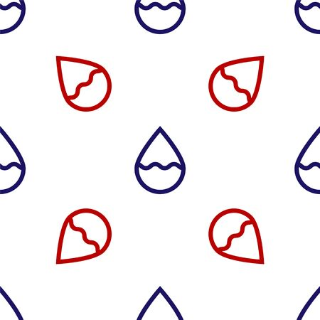 Blue and red Water drop icon isolated seamless pattern on white background. Vector Illustration