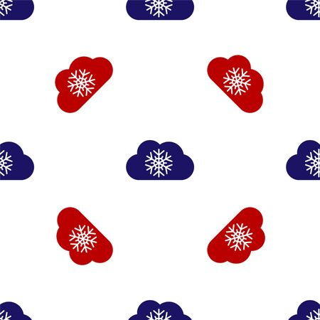 Blue and red Cloud with snow icon isolated seamless pattern on white background. Cloud with snowflakes. Single weather icon. Snowing sign. Vector Illustration