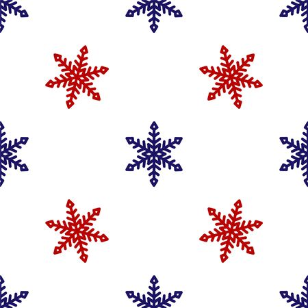 Blue and red Snowflake icon isolated seamless pattern on white background. Vector Illustration Banque d'images - 135496241
