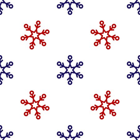 Blue and red Snowflake icon isolated seamless pattern on white background. Vector Illustration Banque d'images - 135496242