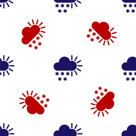 Blue and red Cloudy with snow icon isolated seamless pattern on white background. Cloud with snowflakes. Single weather icon. Snowing sign. Vector Illustration