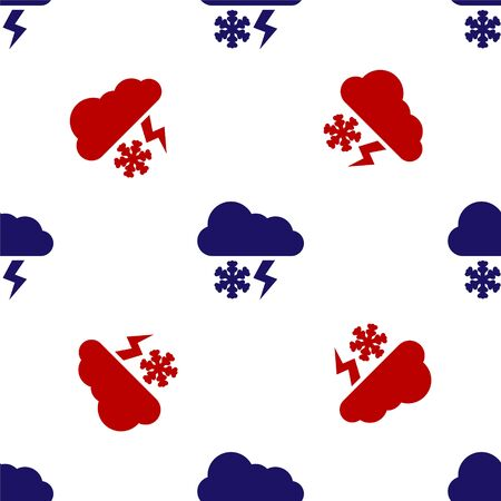 Blue and red Cloud with snow and lightning icon isolated seamless pattern on white background. Cloud with snowflakes. Single weather icon. Snowing sign. Vector Illustration