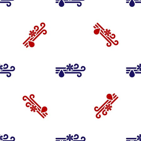 Blue and red Wind and rain with snow icon isolated seamless pattern on white background. Windy weather. Vector Illustration Foto de archivo - 135496258