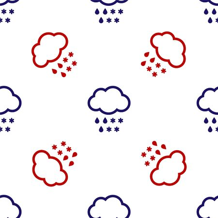 Blue and red Cloud with snow and rain icon isolated seamless pattern on white background. Weather icon. Vector Illustration
