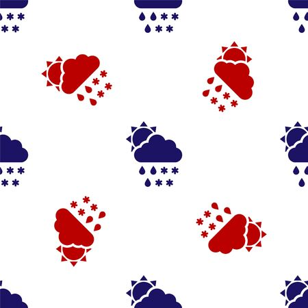 Blue and red Cloud with snow, rain and sun icon isolated seamless pattern on white background. Weather icon. Vector Illustration