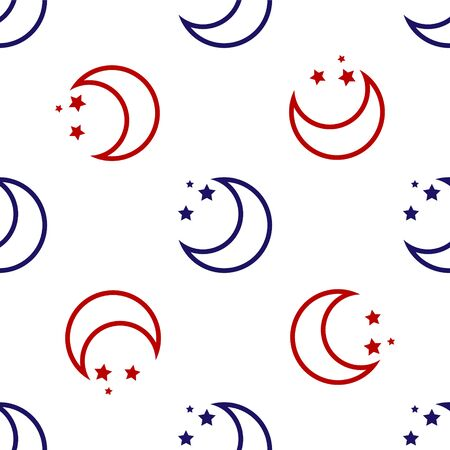 Blue and red Moon and stars icon isolated seamless pattern on white background. Vector Illustration