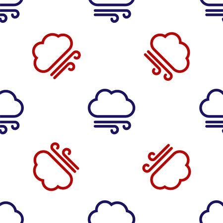 Blue and red Windy weather icon isolated seamless pattern on white background. Cloud and wind. Vector Illustration