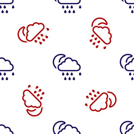 Blue and red Cloud with rain and moon icon isolated seamless pattern on white background. Rain cloud precipitation with rain drops. Vector Illustration