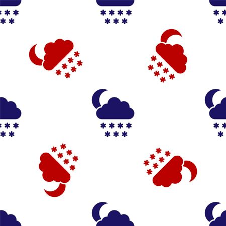 Blue and red Cloud with snow and moon icon isolated seamless pattern on white background. Cloud with snowflakes. Single weather icon. Snowing sign. Vector Illustration Ilustracja