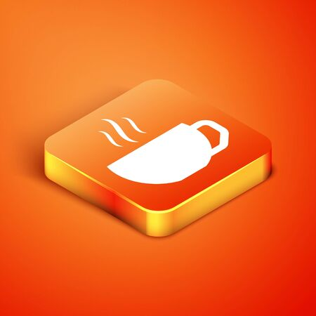 Isometric Coffee cup flat icon isolated on orange background. Tea cup. Hot drink coffee. Vector Illustration