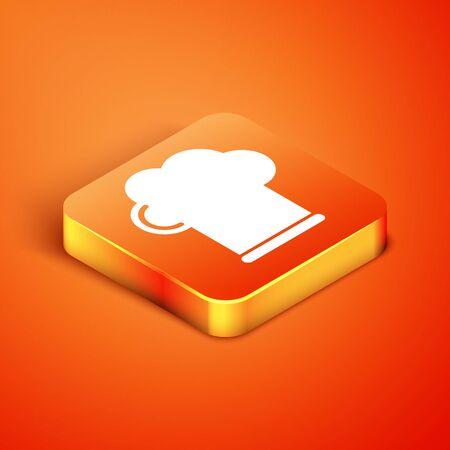 Isometric Chef hat icon isolated on orange background. Cooking symbol. Cooks hat. Vector Illustration Ilustracja