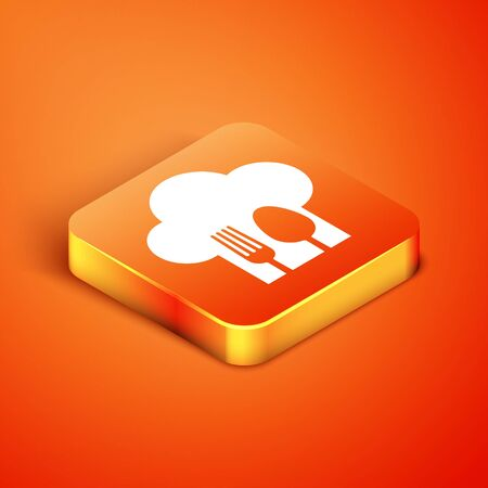 Isometric Chef hat with fork and spoon icon isolated on orange background. Cooking symbol. Restaurant menu. Cooks hat. Vector Illustration