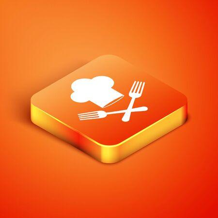 Isometric Chef hat and crossed fork icon isolated on orange background. Cooking symbol. Restaurant menu. Cooks hat. Vector Illustration Ilustracja
