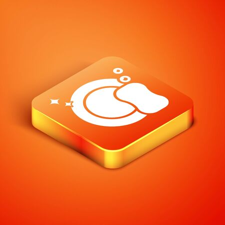 Isometric Washing dishes icon isolated on orange background. Plate and sponge. Cleaning dishes icon. Dishwasher sign. Clean tableware sign. Vector Illustration