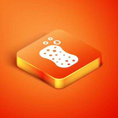 Isometric Sponge with bubbles icon isolated on orange background. Wisp of bast for washing dishes. Cleaning service logo. Vector Illustration