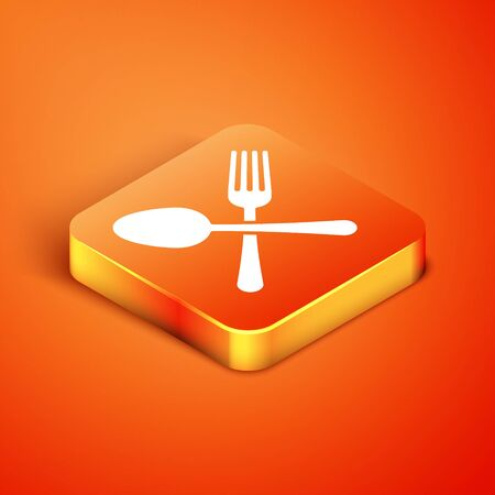 Isometric Crossed fork and spoon icon isolated on orange background. Cooking utensil. Cutlery sign. Vector Illustration