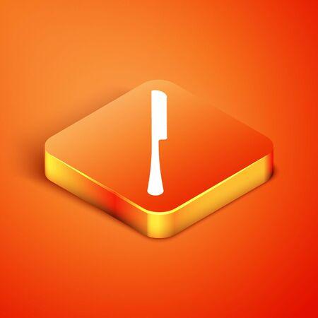 Isometric Knife icon isolated on orange background. Cutlery symbol. Vector Illustration Иллюстрация