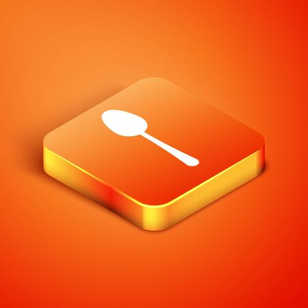 Isometric Spoon icon isolated on orange background. Cooking utensil. Cutlery sign. Vector Illustration