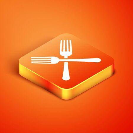 Isometric Crossed fork icon isolated on orange background. Cutlery symbol. Vector Illustration Иллюстрация