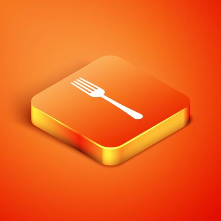 Isometric Fork icon isolated on orange background. Cutlery symbol. Vector Illustration