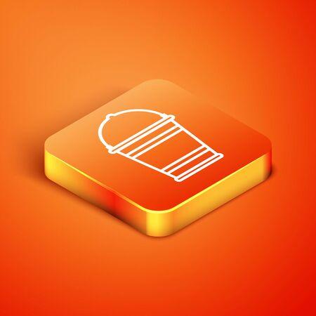Isometric Bucket icon isolated on orange background. Vector Illustration