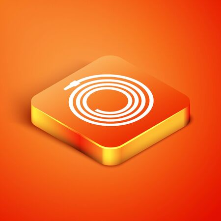 Isometric Garden hose or fire hose icon isolated on orange background. Spray gun icon. Watering equipment. Vector Illustration Ilustração