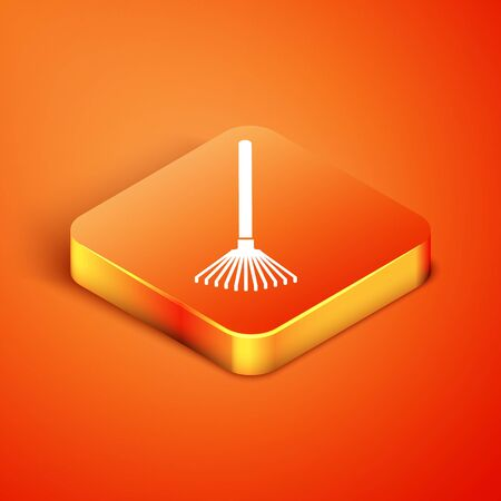 Isometric Garden rake for leaves icon isolated on orange background. Tool for horticulture, agriculture, farming. Ground cultivator. Vector Illustration