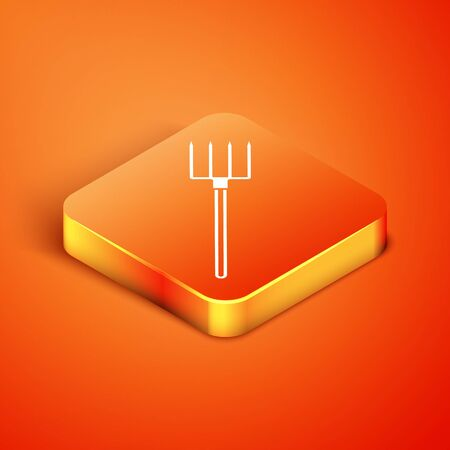 Isometric Garden pitchfork icon isolated on orange background. Garden fork sign. Tool for horticulture, agriculture, farming. Vector Illustration