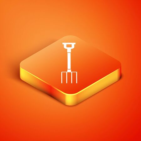 Isometric Garden pitchfork icon isolated on orange background. Garden fork sign. Tool for horticulture, agriculture, farming. Vector Illustration Иллюстрация