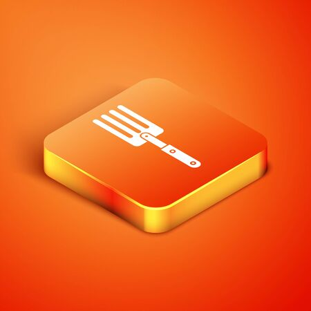 Isometric Garden fork icon isolated on orange background. Pitchfork icon. Tool for horticulture, agriculture, farming. Vector Illustration Иллюстрация