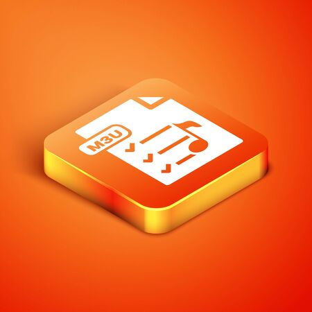 Isometric M3U file document. Download m3u button icon isolated on orange background. M3U file symbol. Vector Illustration