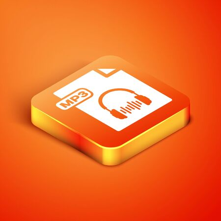 Isometric MP3 file document. Download mp3 button icon isolated on orange background. Mp3 music format sign. MP3 file symbol. Vector Illustration