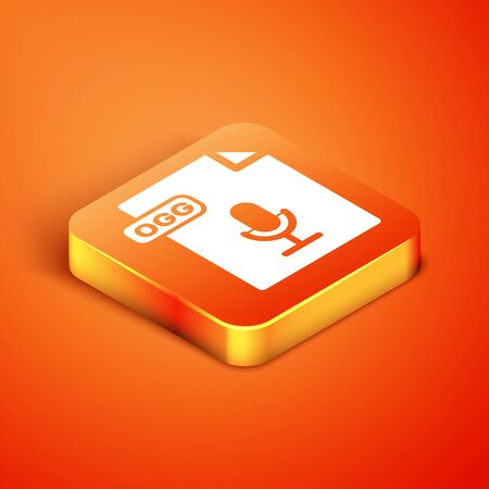 Isometric OGG file document. Download ogg button icon isolated on orange background. OGG file symbol. Vector Illustration