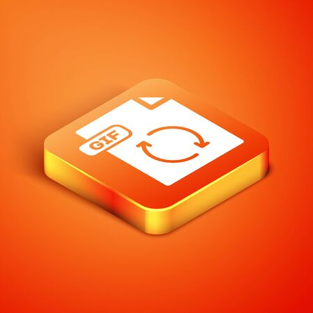 Isometric GIF file document. Download gif button icon isolated on orange background. GIF file symbol. Vector Illustration