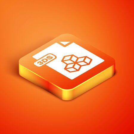 Isometric 3DS file document. Download 3ds button icon isolated on orange background. 3DS file symbol. Vector Illustration